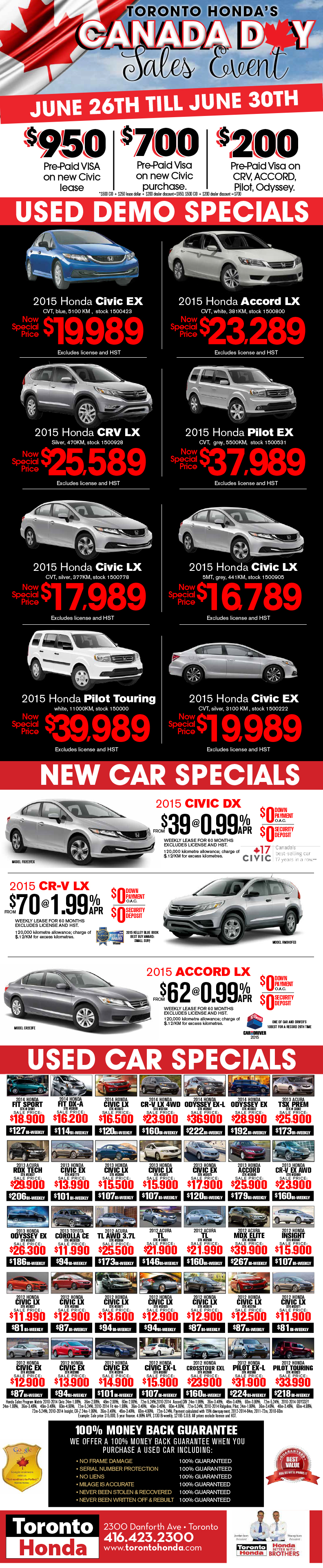 Canada Day Sales Event: June 26th til June 30th