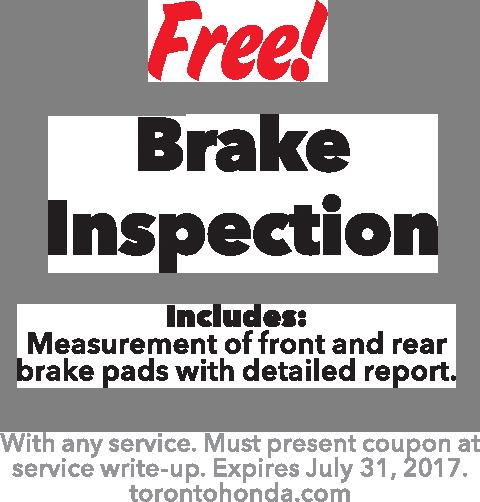 Service coupons toronto honda for Honda brake service coupons