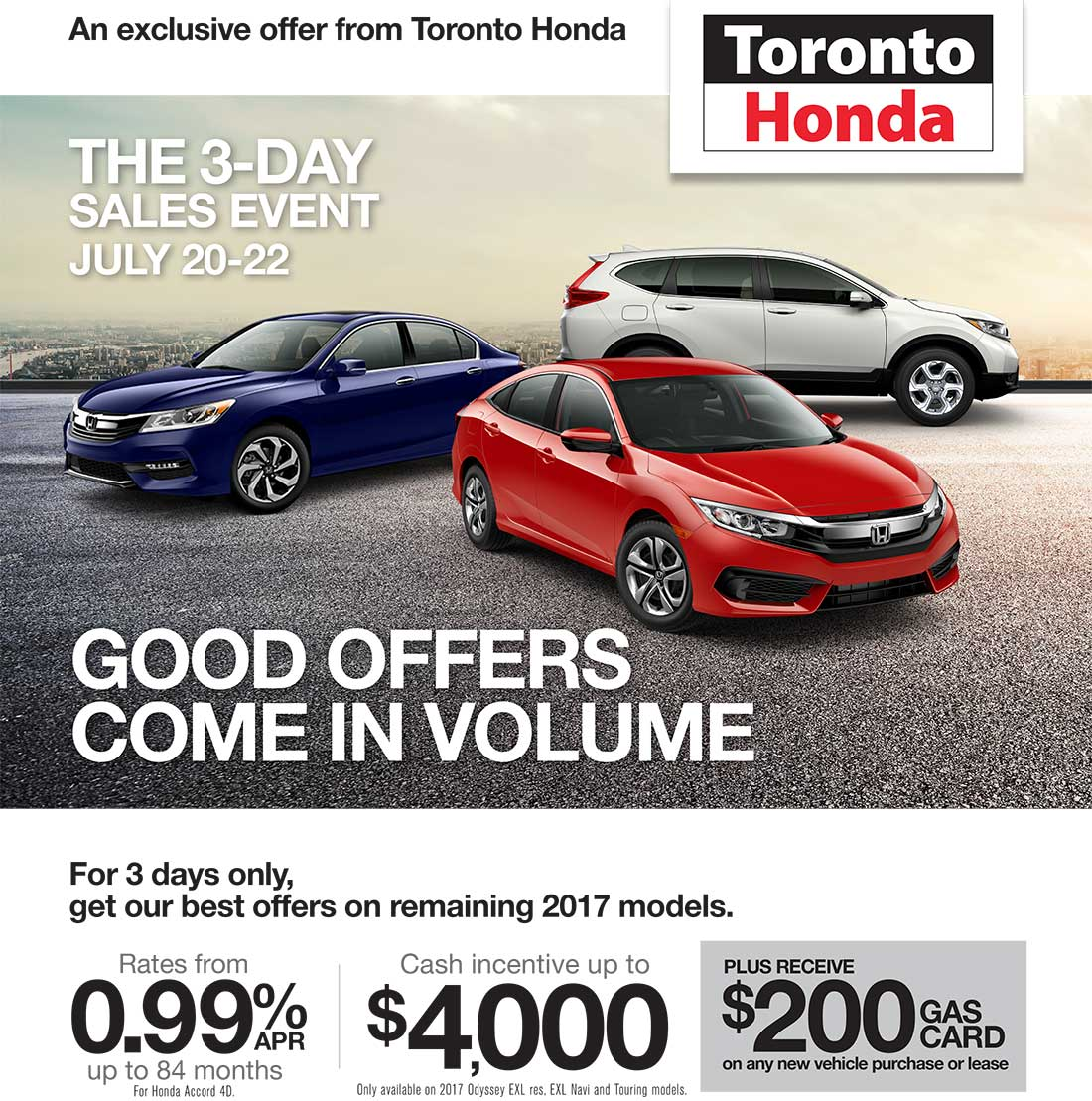 Toronto Car Sales >> 3 Day Sales Event Toronto Honda