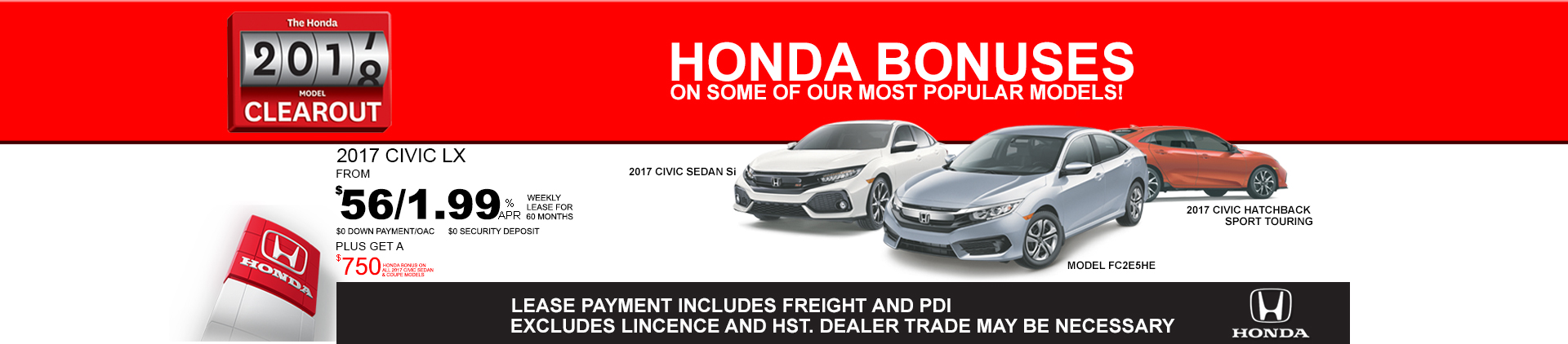 2017 Honda Civic Clearout