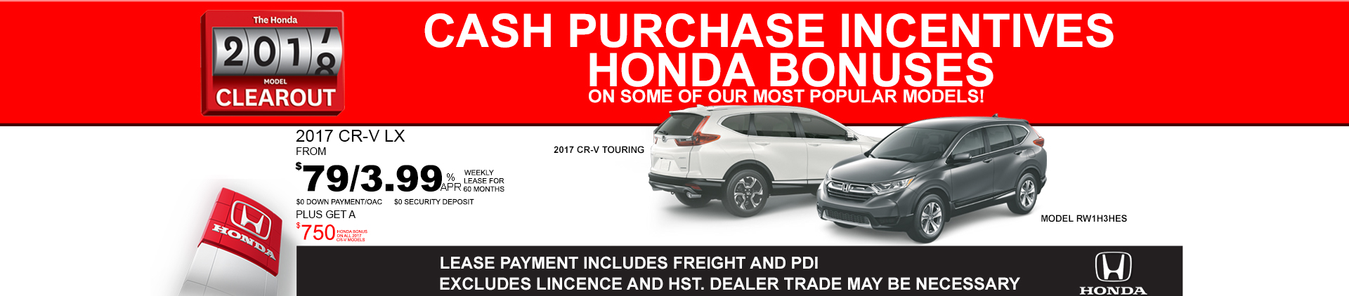 2017 Honda CR-V Clearout